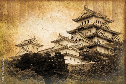 Papiers peints Japon Château de Himeji style photo ancienne - Japon