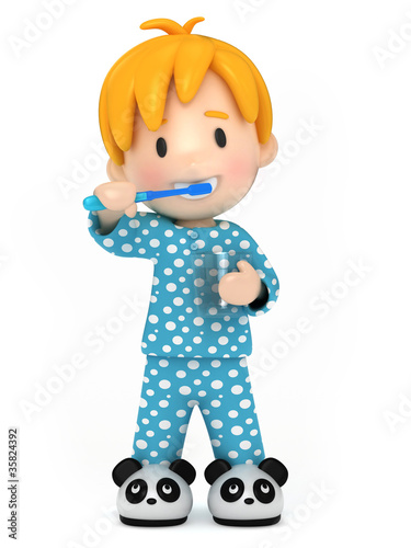 3D Render of a kid brushing his teeth