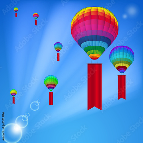 Background white colorful hot air balloons.