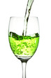 Green cocktail on a glass on white background