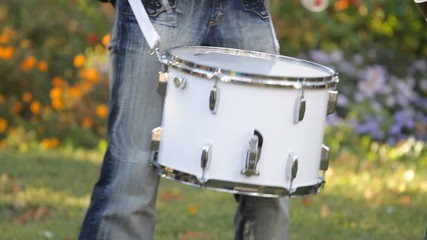 Musician playing the drum