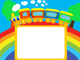 Rainbow, train, frame