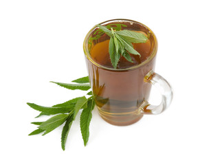 Mint tea with fresh mint leaves isolated on white