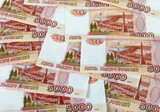 Money background of russian roubles poster