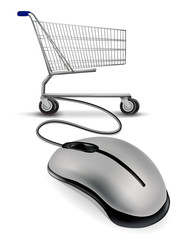 A mouse connected to a shopping cart. Vector