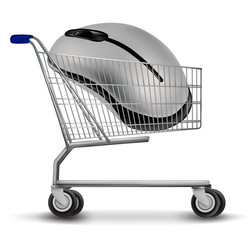 Shopping cart with mouse. Vector