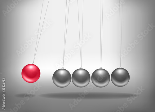 Newton's cradle with a red sphere. Concept of teamwork. Vector