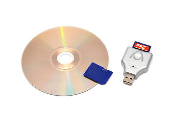 card reader, USB flash drive and memory card