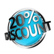 3d rendered blue discount button - 20%
