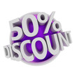 3d rendered purple discount button - 50%