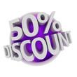 3d rendered purple discount button - 50%