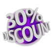 3d rendered purple discount button - 30%