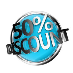 3d rendered blue discount button - 50%
