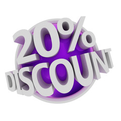 3d rendered purple discount button - 20%