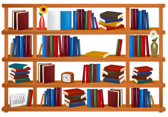 Bookshelf with colorful books and clock. Vector