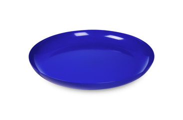 blue disposable plate on white