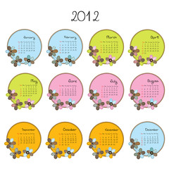 Cute colored calendar with flowers