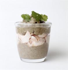 Verrine de purée brocolis-pomme de terre et saumon