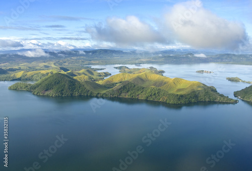 In de dag Luchtfoto Aerial photo of the coast of New Guinea