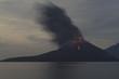 Leinwandbild Motiv Night volcano eruption. Anak Krakatau