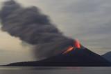 Night volcano eruption