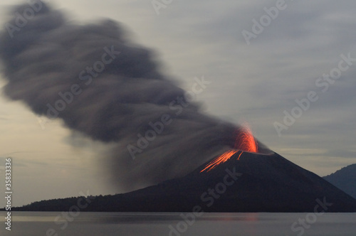 Night volcano eruption - 35833336