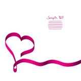 Fototapety Card Pink Ribbon Heart