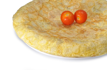 Tortilla y tomates cherry.