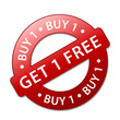 BUY 1 GET 1 FREE Marketing Stamp (special offers sale label)