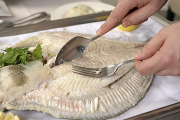 Lever des filets de turbot poché