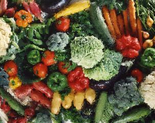Légumes en vue plongeante