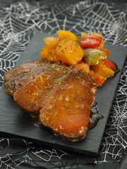 Steaks de seitan aux légumes