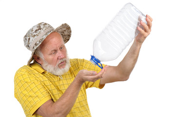 senior man with empty plastic bottle