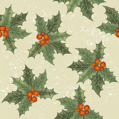 seamless ornament with holly berry