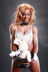 Sexy magician and her bunny act