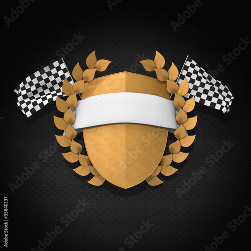 Motorsport Wappen Gold 3D