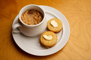Cupcake style buttered cornbread with bean soup