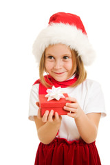 Happy Christmas child with a box on a white background.