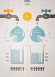 retro infographics account scheme with a liquid poster
