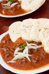 Beef goulash and dumplings from Czech Republic