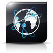 Symbole glossy vectoriel planète Terre flux informations