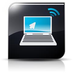 Symbole glossy vectoriel ordinateur curseur et wifi