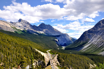 panoramic view of Icefields Parkway, Canada