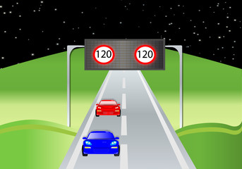 Paisaje con señal de velocidad a 120 km/h