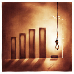 stylized business chart - no way out /giving-up metaphor