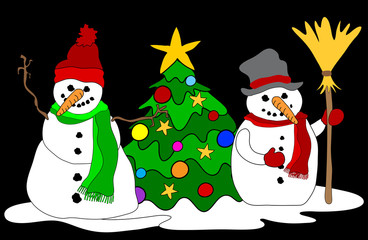Schneemänner mit Weihnachtsbaum