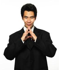 Asian businessman making decision