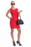 Beautiful posh sexy young woman in short red dress