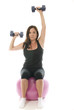 middle age senior woman fitness exercising  dumbbell weights cor