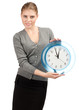 Business woman with big clock